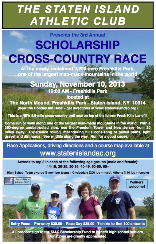 2013 Scholarship X-C Race Poster (11%22x17%22)